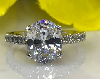 Moissanite 3.00ct. Oval With Diamond Accents Engagement Wedding Anniversary Ring In 14k White Gold #5156