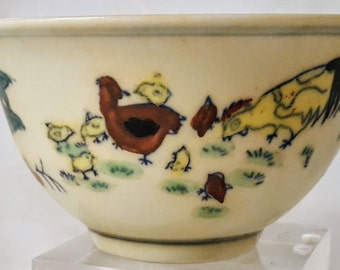 Chinese Ming Dynasty Doucai Porcelain Chicken Bowl with base rein mark