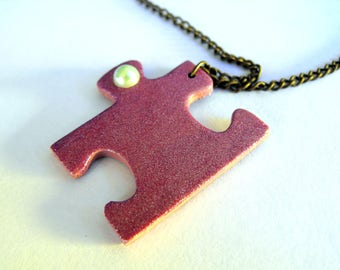 Pink puzzle piece necklace Puzzle necklace Puzzle piece jewelry Autism awareness jewelry Best friends long distance gift for Sister necklace