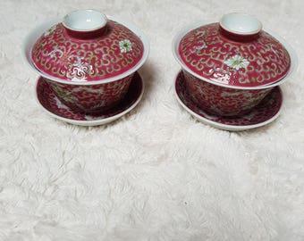 Mun Shou pattern Gaiwan Tea Cup