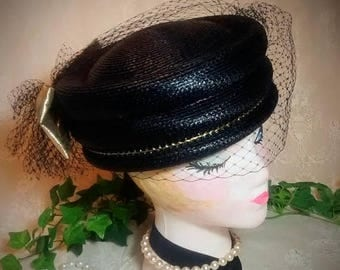 ON SALE Black Vintage Straw Pillbox Hat with Large Gold Lame Bow and Black Veil
