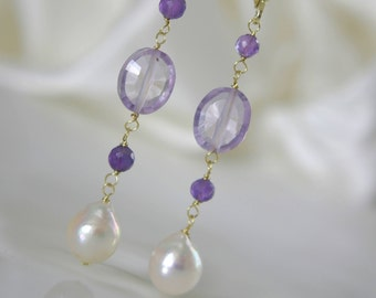Saltwater Akoya Baroque earrings Klappbrisuren 925 Vergoldet or gold filled beads purple amethyst purple