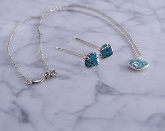 """Designer Kit Heath Sterling Turquoise Earrings (pierced) Necklace (Adj. 16""""-17"""")"""