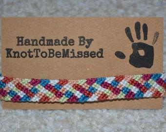 Handmade Woven Macrame Checkerboard Friendship Bracelet White Blue Maroon Yellow