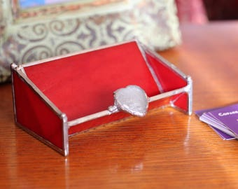 Glass Business Card Holder - RED with Crystal Heart