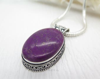 Vintage Purple Copper Turquoise Sterling Silver Pendant and Chain
