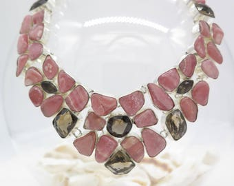 Rhodochrosite and Smoky Topaz Sterling Silver Necklace