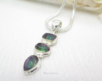 Emerald Cut Oval Cut and Pear Cut Mystic Topaz Sterling Silver Pendant and Chain