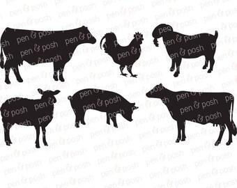 Farm Animals SVG - Show Animals - Show Pig Svg - Chicken SVG - Pig SVG - Sheep Svg - Cow Svg - Farm Animal Cut Files - Farm Animal Clipart