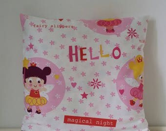 Pink kids pillow cover, fairies.