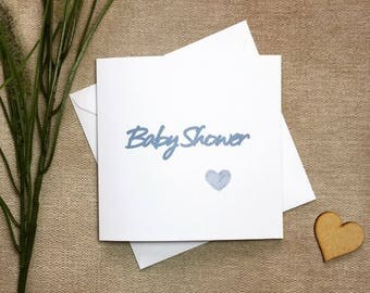 Baby shower card, blue baby shower card, baby boy card, card for new baby