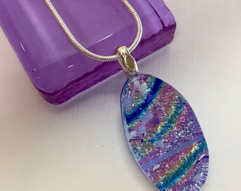 Rainbow of Pink, Blue, Green, Gold, Dichroic Glass on Royal Blue Glass Pendant Necklace