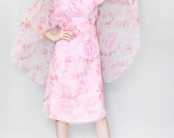 Vintage 1970's MKA Modell Pink Floral Print Mini Dress