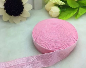 Pink fold over elastic by the yard   V44