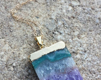 Amethyst Raw Slice Pendant Necklace