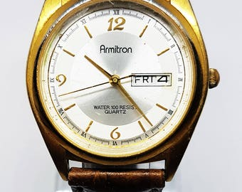 Armitron Gold Tone Date Watch - Very nice Gold Dial - Vintage Armitron Watch with bran new Vintage Brown Leather Band