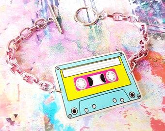 Cassette Tape Bracelet - personalised bracelet, custom retro charm, tape charm bracelet, cassette tape bracelet, stranger things