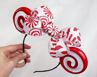 christmas peppermint headband, Christmas mouse ears headband, candy cane headband adult, red white, christmas headbands for toddler or adult