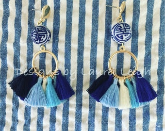 SALE | BLUE OMBRÉ Tassel Earrings | hoops, post earrings, gold, blue and white, statement earrings, navy, royal blue, chinoiserie, ombre