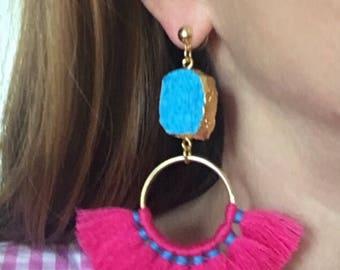 HOT PINK and TURQUOISE Fan Tassel Earrings | fringe, gold, aqua, pink, statement earrings, post earrings