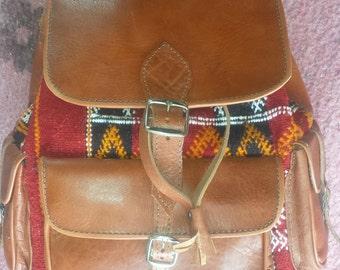 Kilim leather Mroccan Bag