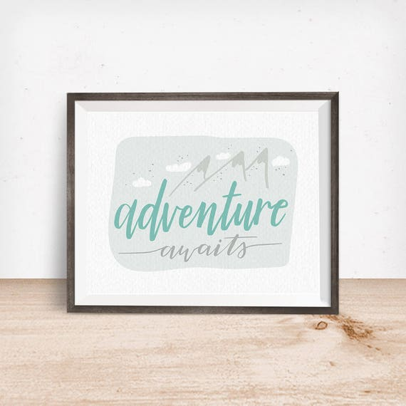 Printable Art, Adventure Awaits, Mint & Gray, Inspirational Quote, Motivational Art, Hand Lettered, Digital Download Print, Quote Printables