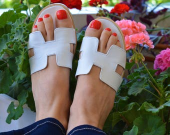 Hermes Leather Sandals, White H Slides, Greek Leather Sandals, White Greek Sandals, White Leather Slides