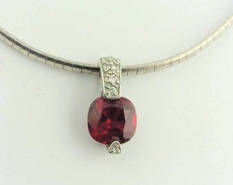 Vintage Cocoon Chain  And Ruby Pendant- Sterling Silver