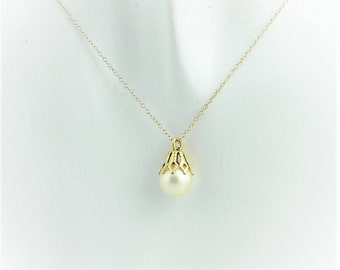 Pearl Drop Chained Necklace- 14k Yellow Gold