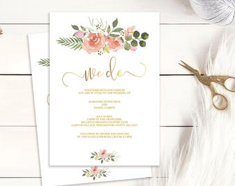 Gold We Do wedding invitation, customisable printable template | Pink blush rose bouquet, instant download