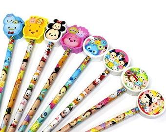 Wholesale Lot  Disney Tsum Tsum Pencil and Eraser Set - 25 pcs