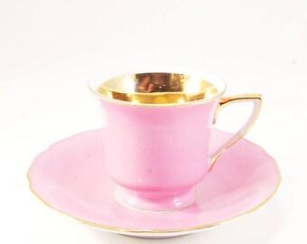 Vintage  pink gilded art nouveau Cup and Saucer bohemia porcelain