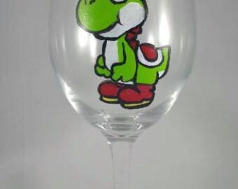 Paper Mario Yoshi Inspired hand-painted wine glass