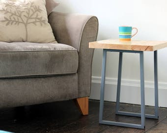 Pine Side Table with Metal Legs