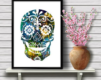 Sugar Skull, Day of the Dead Themed Watercolor Printable Wall Art, Holiday Home Decoration, gift, Instant Download (02)