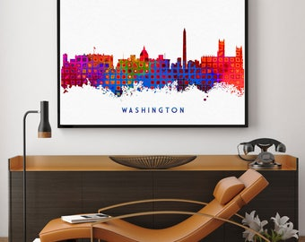 Washington DC Skyline, Washington DC Art, Watercolor Print, Washington DC Print, Home Decor Poster, Blue And Red Art (N130)