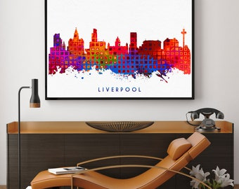 Liverpool Skyline, Liverpool City Print, Liverpool Wall Art Decor, Birthday Gift, Home Decor, Skyline Print, Nursery Decor (N1004)