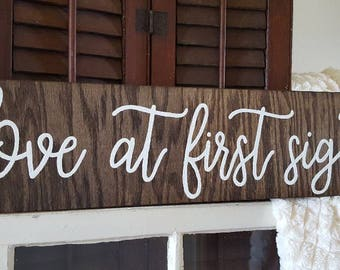 love at first sight wood sign