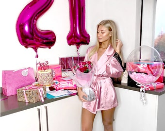 21 PINK Balloons | Hot Pink Birthday Number Balloons | Metallic Letter Balloons | Hot Pink Party Decorations