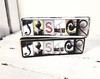 Sisters Letter Photography Small Sign - Sister Gift - Custom Sister Gift - New Sister Gift - Family Custom Sign - Big Sister - Little Sister