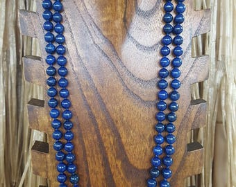 "60"" Long Lapis Lazuli Gemstone Beaded Necklace, Extra Long Lapis Gemstone Necklace, 60"" 8mm Lapis Beaded Necklace, Long Blue Beaded Necklace"