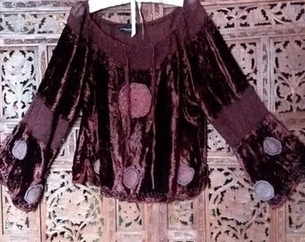 Blood red velvet and lace pirate goth top