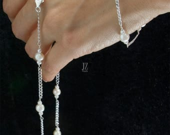Freshwater Cultured Pearl Necklace, Bracelet and Stud Set linked with Sterling Silver Chain,Fastened with Sterling Silver Lobster Clasps