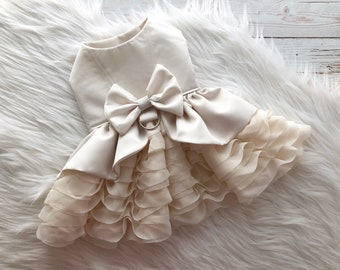 dog dress, puppy dress, dog wedding dress, dog clothes, dog wedding, ruffled skirt