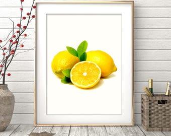 Lemon Print Lemon Wall Art Lemon Digital Art Instant Download Lemon Decor