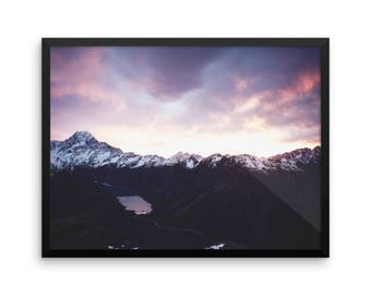 Mountain Range Print | Nature Inspired | Landscape | Photography Print | Wall Art | Art Prints | Large Wall Art | Sky | Clouds | Soft Colors