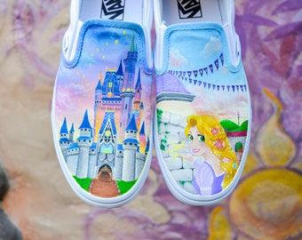 Tangled Rapunzel and Disney Castle Hand Painted Vans Disney Shoes - Shanny's Shoes