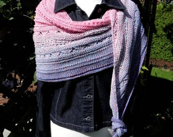 handknit scarf cloth scarf STOLES Strawberry denim
