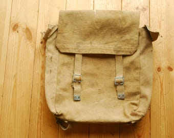 Vintage 1940's WW2 British Military Sand Canvas Backpack Bag Rucksack