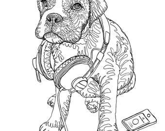 Coloring Boxer Doodle